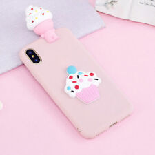 3D Cartoo lovely Pink Ice Cream Soft Silicone Case Cover For iphone Samsung Huaw