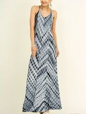Umgee Summer Maxi Dress Tie Dye Adjustable Straps Mineral Wash Charcoal S M L