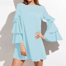 Women Solid Color O-Neck Ruffled Frill Sleeve Summer Wear Embroidery Mini Dress