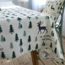 Green Tree Deer Tablecloth Cotton Linen Cusion Cover Home Tea Dinner Table Cloth