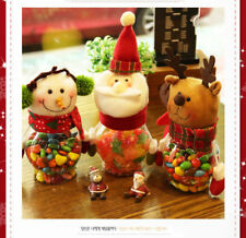 New Christmas Elk, Santa, Snowman Candy Jar Xmas Decor Gift Storage Container
