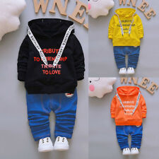 Toddler Kids Baby Boy Girls Outfits Hooded Letter T-shirt Tops+Pants Clothes Set