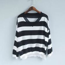 Woman Knitting Casual Striped Loose Coarse Thin V-neck Long Sleeve Sweater