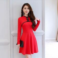 Women New Black Red Color High Waist Slim Pleated Style Long Sleeve Dress
