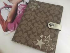 Authentic Coach Signature Khaki iPad Case w/Turn-Lock Closure Gold Trim