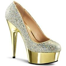 DELIGHT-685G, 6'' Heel 1 3/4'' Gold Chrome  Plain Pump Shoes by PleaserUSA