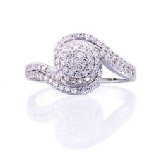 Sterling Silver Micro pave Round Cubic Zirconia Swirl Cluster Wedding Ring