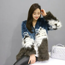 Winter Womens Fur Clothing Long Multi-Color Cardigan Jacket Coat Elegant Floral