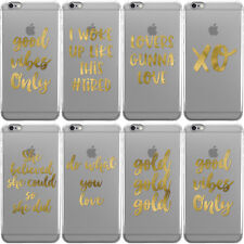 REAL GOLD FOIL SAYINGS CLEAR HARD CASE COVER FOR APPLE IPHONE MOBILE PHONES