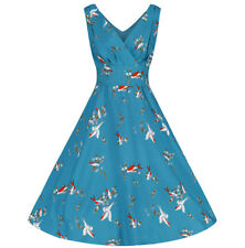Teal Bird Print 50s Vintage Retro Swing Rockabilly Cocktail Party Dress 8-22