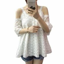 New Summer White Color Lace Out Off Shoulder Blouse For Women