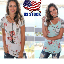 Womens Casual Floral Striped Patchwork V-neck T Shirt Summer Short Sleeve Blouse