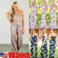 USA Womens Sleeveless Floral Sling Jumpsuit Rompers Long Trousers Playsuit S-2XL