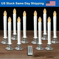 Flameless Taper Candles LED Tree Light Timer Candles with Remote & Silver Base