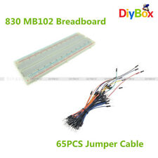 65Pcs Jumper Cable Wires + MB102 830 Tie Points PCB Breadboard Solderless