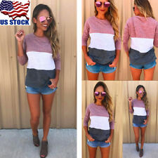 Women's Long Sleeve Round Neck Pullover Tops Casual Patchwork Blouse T Shirt USA