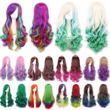 70cm Women Long Hair Wig Curly Wavy Synthetic Anime Cosplay Party Full Wigs