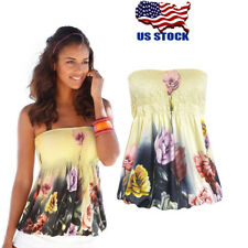 Womens Sleeveless Casual Vest Blouse Shirt Floral Strapless Bandeau Tube Tops US