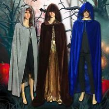 US Velvet Hooded Halloween Cloak Wicca Robe Gothic Party Cape Witchcraft Costume