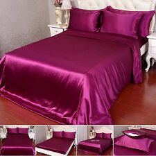 22 Momme 100% Pure Silk Duvet Quilt Cover Sheets Pillow Cases Seamed Burgundy