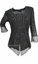 NEW Pretty Angel Clothing Tory PLUS SIZE Ladies Retro Knit Top In Black 11036