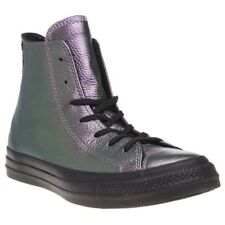 New Womens Converse Purple Metallic All Star Hi Leather Trainers Canvas Lace Up