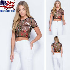 US Womens Floral Embroidery Transparent Mesh Tops Blouse Short Sleeve Sexy Shirt