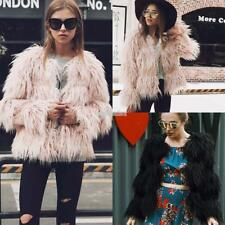 Women Open Front Long Sleeve Solid Fall Winter Faux Fur Coat Elagant EFFU