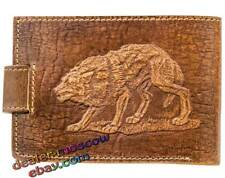 Genuine Leather Wallet Compact Purse Grey Wolf for Cash Coins and Card