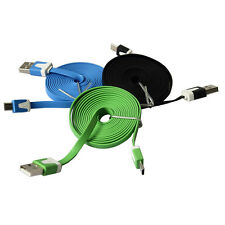 3-10Ft Flat Noodle Micro USB Charger Sync Data Cable Cord for Android Phone RS
