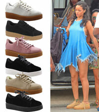 Ladies Womens Trainers Lace Up Casual Platform Flat Pump Creepers Shoes Size 3-8