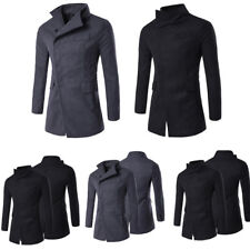 Mens Slim Fit Winter Windbreaker Long Trench Coat Jacket Button Overcoat Outwear