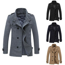 Mens Bussiness Double Breasted Slim Fit Long Trench Coat Jacket Overcoat Outwear