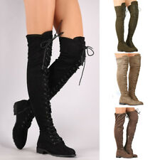Womens Ladies Low Heel  Thigh High Over The Knee Stretch Riding Boots Shoes Size