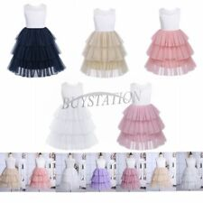Kids Girls Lace Mesh Tiered Dress Flower Princess Gown Pageant Wedding Party NEW