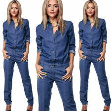 US Women Romper Denim Jeans Casual Long Sleeve Overall Loose Pants Jumpsuit