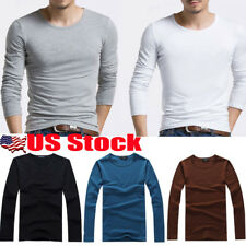 Men's Slim Fit Round Neck Long Sleeve Muscle Tee T-shirt Casual Tops Blouse USA