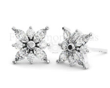 0.80CT Round Brilliant & Marquise Cut Diamond Stud Earring Available in 18K Gold