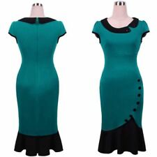 Women Button Decorated Vintage Style Peter Pan Collar Short Sleeve Dress
