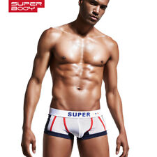 Superbody New Men Sexy Gay Low Rise Trunk Boxers Solid Cotton Boxers Penis Pouch