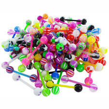 20/60Pcs Mixed Color Tounge Nipple Ear Rings Bar Barbell Body Piercing Jewelry