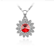 Women Fashion Charm Jewelry Chain Pendants Austrian Crystal Necklace - Sunflower
