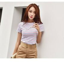 Casual T-shirts For Women Classic Striped Cotton T Shirt Woman Plus Size Female