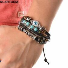 Punk Style Leather Bracelet Ethnic Multilayer Black Adjustable wrap Bracelet Eye