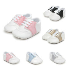 Toddler Girls Boys Lace-up Crib Shoes Newborn Baby Soft Sole Sneakers Shoes Size
