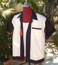 Men's  Rockabilly Vintage 1950's Style Black with Cream front Shirt
