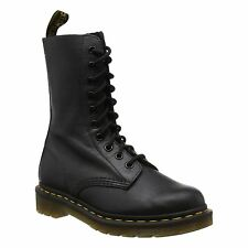 Dr.Martens 1490 10-Eyelet Black Womens High Top Leather Combat Boots