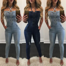 Women Casual Sexy Off Shoulder Bandage Denim Jumpsuit Romper Overall Pants Jeans