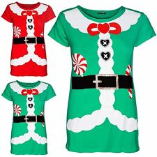Womens Ladies Stretch Candy Stick Santa Claus Belted Xmas Cap Sleeve T Shirt Top
