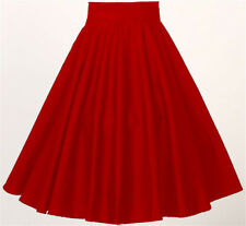 Women Retro Vintage Rockabilly 50's Party Club Clothes Full Circle Skirt-Red